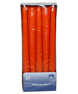 Lumanari conice portocalii 8 ore Gies 245 x 23.5 mm, set 10 buc
