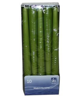 Lumanari conice verde kaki 8 ore Gies, 245 x 23,5 mm, set 10 buc.